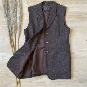 Vintage Brown Wool Blazer Vest   Made in USA